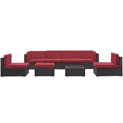 Ryele 8 Piece Outdoor Patio Sectional Set with Cushion Fabric: Red