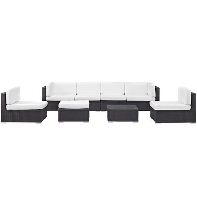 Ryele 8 Piece Outdoor Patio Sectional Set with Cushion Fabric: White