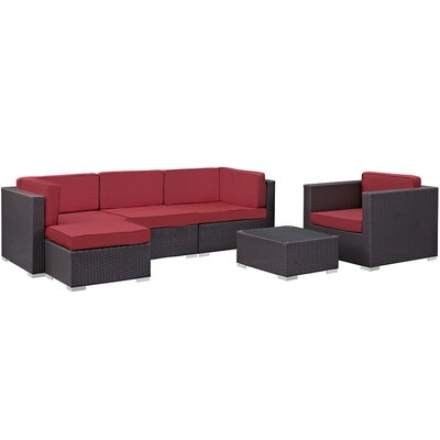 Ryele 6 Piece Outdoor Patio Sectional Deep Seating Group with Cushion Fabric: Red