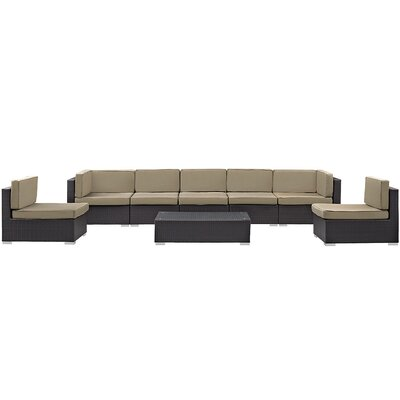 Ryele 8 Piece Rattan Outdoor Patio Sectional Set with Cushion Fabric: Mocha