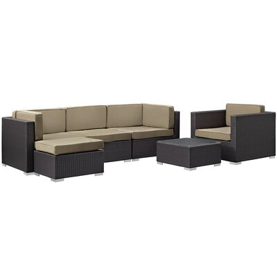Ryele 6 Piece Outdoor Patio Sectional Deep Seating Group with Cushion Fabric: Mocha