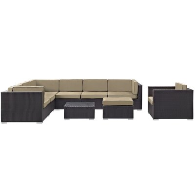Ryele 9 Piece Outdoor Patio Sectional Deep Seating Group with Cushion Fabric: Mocha