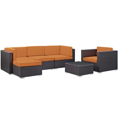 Ryele 6 Piece Outdoor Patio Sectional Deep Seating Group with Cushion Fabric: Orange