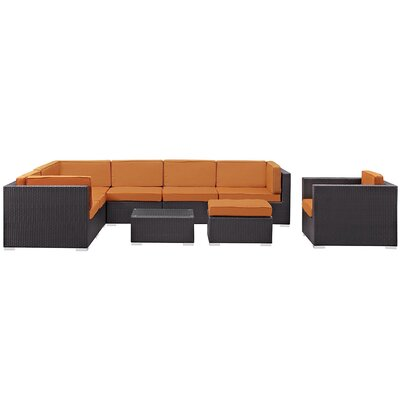 Ryele 9 Piece Outdoor Patio Sectional Deep Seating Group with Cushion Fabric: Orange