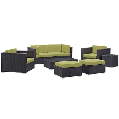 Ryele 8 Piece Metal Frame Outdoor Patio Sectional Set with Cushion Fabric: Peridot