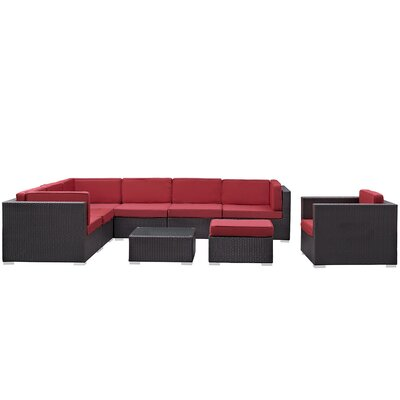 Ryele 9 Piece Outdoor Patio Sectional Deep Seating Group with Cushion Fabric: Red