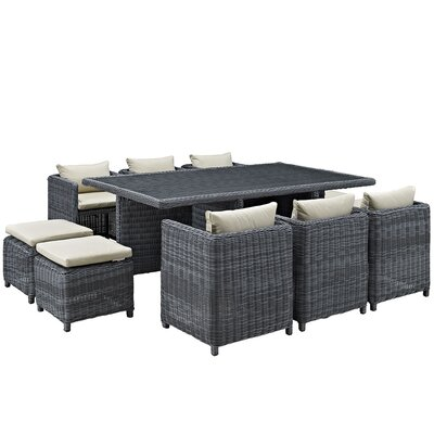 Summon 11 Piece Outdoor Patio Dining Set with Cushion Finish: Gray