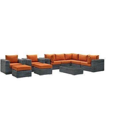 Summon 10 Piece Deep Seating Group with Cushion Fabric: Tuscan