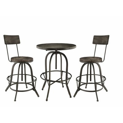 Gather 3 Piece Dining Set Finish: Black