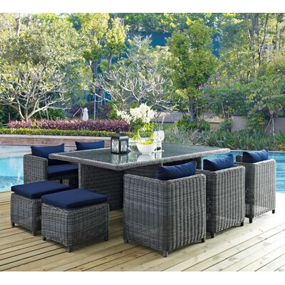 Summon 11 Piece Outdoor Patio Dining Set with Cushion Finish: Navy