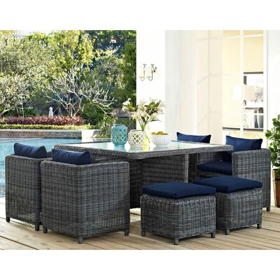 Summon 9 Piece Outdoor Patio Dining Set with Cushions Finish: Navy