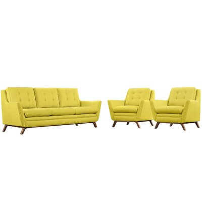 Beguile 3 Piece Fabric Living Room Set Upholstery: Sunny
