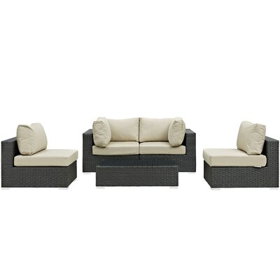 Sojourn 5 Piece Deep Seating Group with Cushion Fabric: Antique Beige