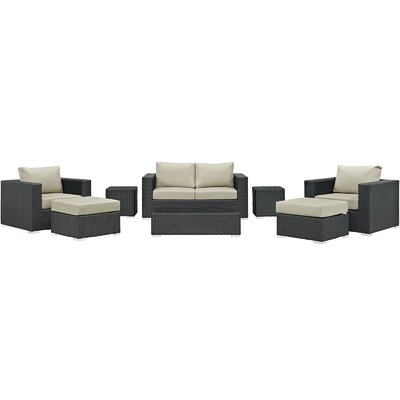 Sojourn 8 Piece  Deep Seating Group with Cushion Fabric: Antique Beige