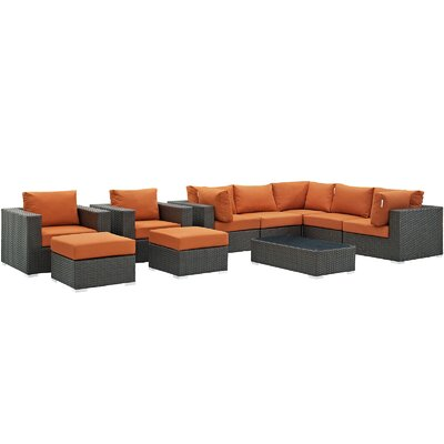 Sojourn 10 Piece Deep Seating Group with Cushion Fabric: Tuscan