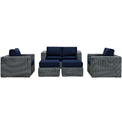Summon 5 Piece Deep Seating Group with Cushion Fabric: Navy
