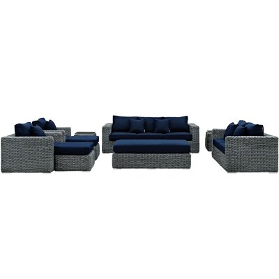 Summon 9 Piece Deep Seating Group with Cushion Fabric: Navy
