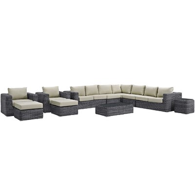 Summon 12 Piece Deep Seating Group with Cushion Fabric: Antique Beige