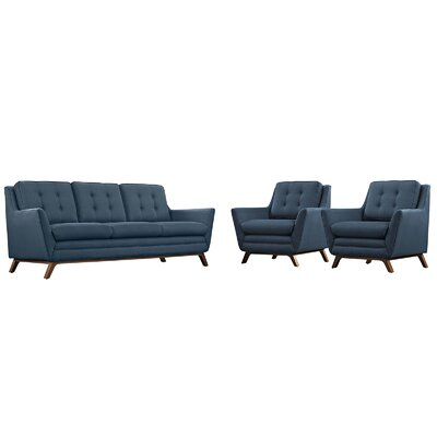 Beguile 3 Piece Fabric Living Room Set Upholstery: Azure