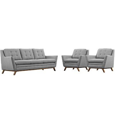 Beguile 3 Piece Fabric Living Room Set Upholstery: Expectation Gray