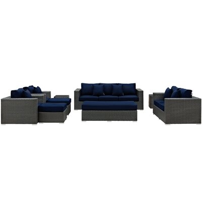 Sojourn 9 Piece Deep Seating Group with Cushion Fabric: Navy
