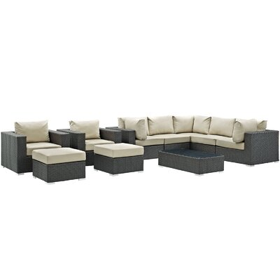 Sojourn 10 Piece Deep Seating Group with Cushion Fabric: Antique Beige