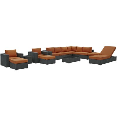 Sojourn 12 Piece Deep Seating Group with Cushion Fabric: Tuscan