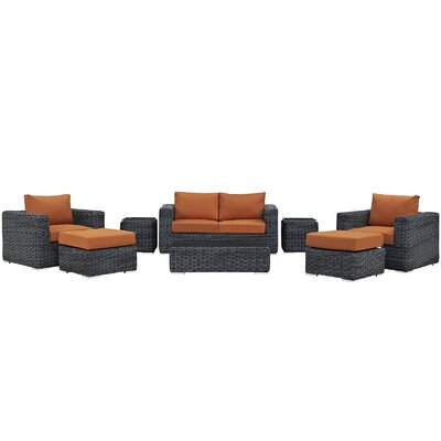 Summon 8 Piece Deep Seating Group with Cushion Fabric: Tuscan