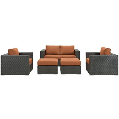 Sojourn 5 Piece Deep Seating Group with Cushion Fabric: Tuscan