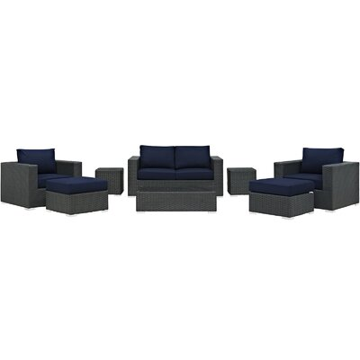 Sojourn 8 Piece  Deep Seating Group with Cushion Fabric: Navy