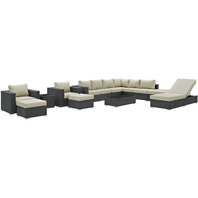 Sojourn 12 Piece Deep Seating Group with Cushion Fabric: Antique Beige