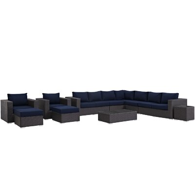 Sojourn 12 Piece Deep Seating Group with Cushion Fabric: Navy