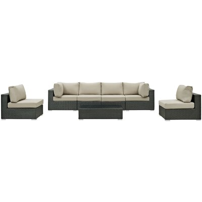 Sojourn 7 Piece Deep Seating Group with Cushion Fabric: Antique Beige