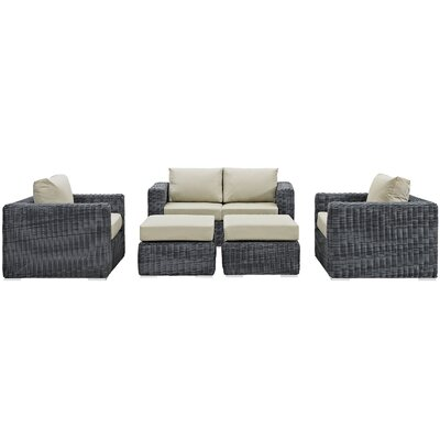 Summon 5 Piece Deep Seating Group with Cushion Fabric: Antique Beige