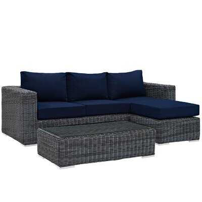 Summon 3 Piece Deep Seating Group with Cushion Fabric: Navy