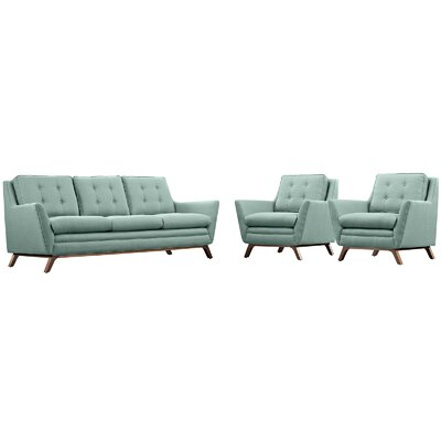 Beguile 3 Piece Fabric Living Room Set Upholstery: Laguna