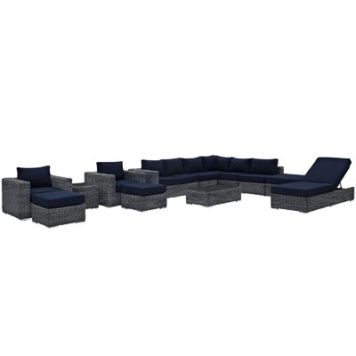 Summon 12 Piece Deep Seating Group with Cushion Fabric: Navy