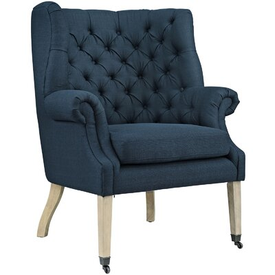 Chart Wing back Chair Upholstery: Azure