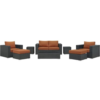 Sojourn 8 Piece  Deep Seating Group with Cushion Fabric: Tuscan