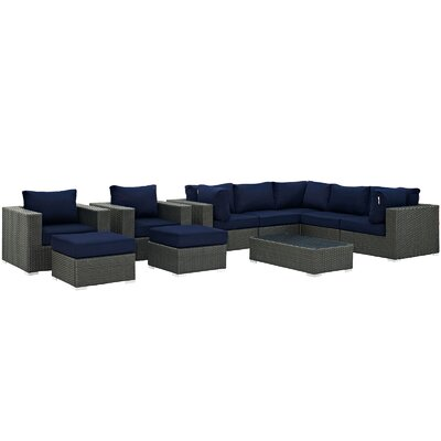 Sojourn 10 Piece Deep Seating Group with Cushion Fabric: Navy