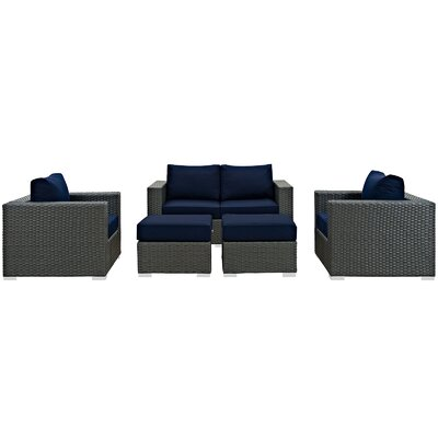 Sojourn 5 Piece Deep Seating Group with Cushion Fabric: Navy