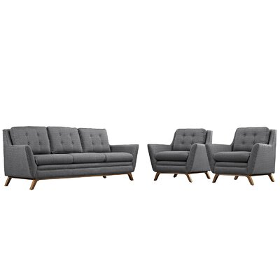 Beguile 3 Piece Fabric Living Room Set Upholstery: Gray