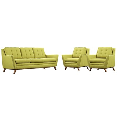 Beguile 3 Piece Fabric Living Room Set Upholstery: Wheatgrass