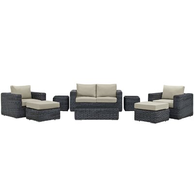 Summon 8 Piece Deep Seating Group with Cushion Fabric: Antique Beige