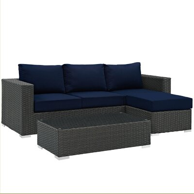 Sojourn 3 Piece Deep Seating Group with Cushion Fabric: Navy