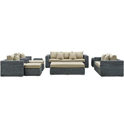 Summon 9 Piece Deep Seating Group with Cushion Fabric: Antique Beige