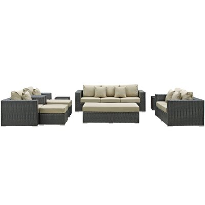 Sojourn 9 Piece Deep Seating Group with Cushion Fabric: Antique Beige