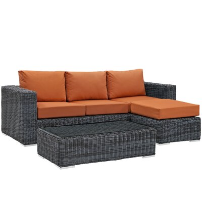 Summon 3 Piece Deep Seating Group with Cushion Fabric: Tuscan