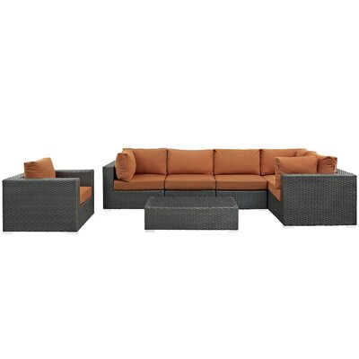 Sojourn 7 Piece Deep Seating Group with Cushion Fabric: Tuscan