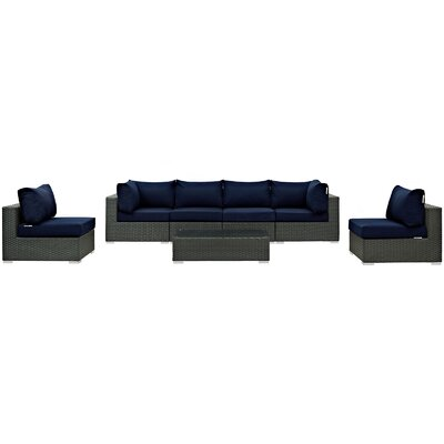 Sojourn 7 Piece Deep Seating Group with Cushion Fabric: Navy